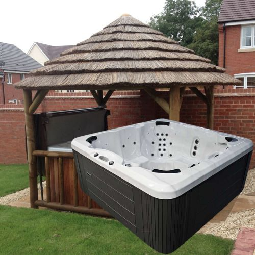 3.8m Thatch Gazebo + Regency Prince Hot Tub Package