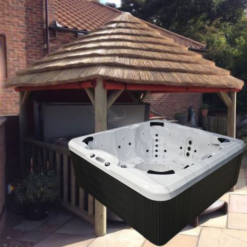 4.2m Thatch Gazebo + Evolution SC858 Hot Tub Package