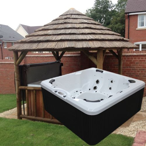3.8m Thatch Gazebo + Evolution SL743 Hot Tub Package