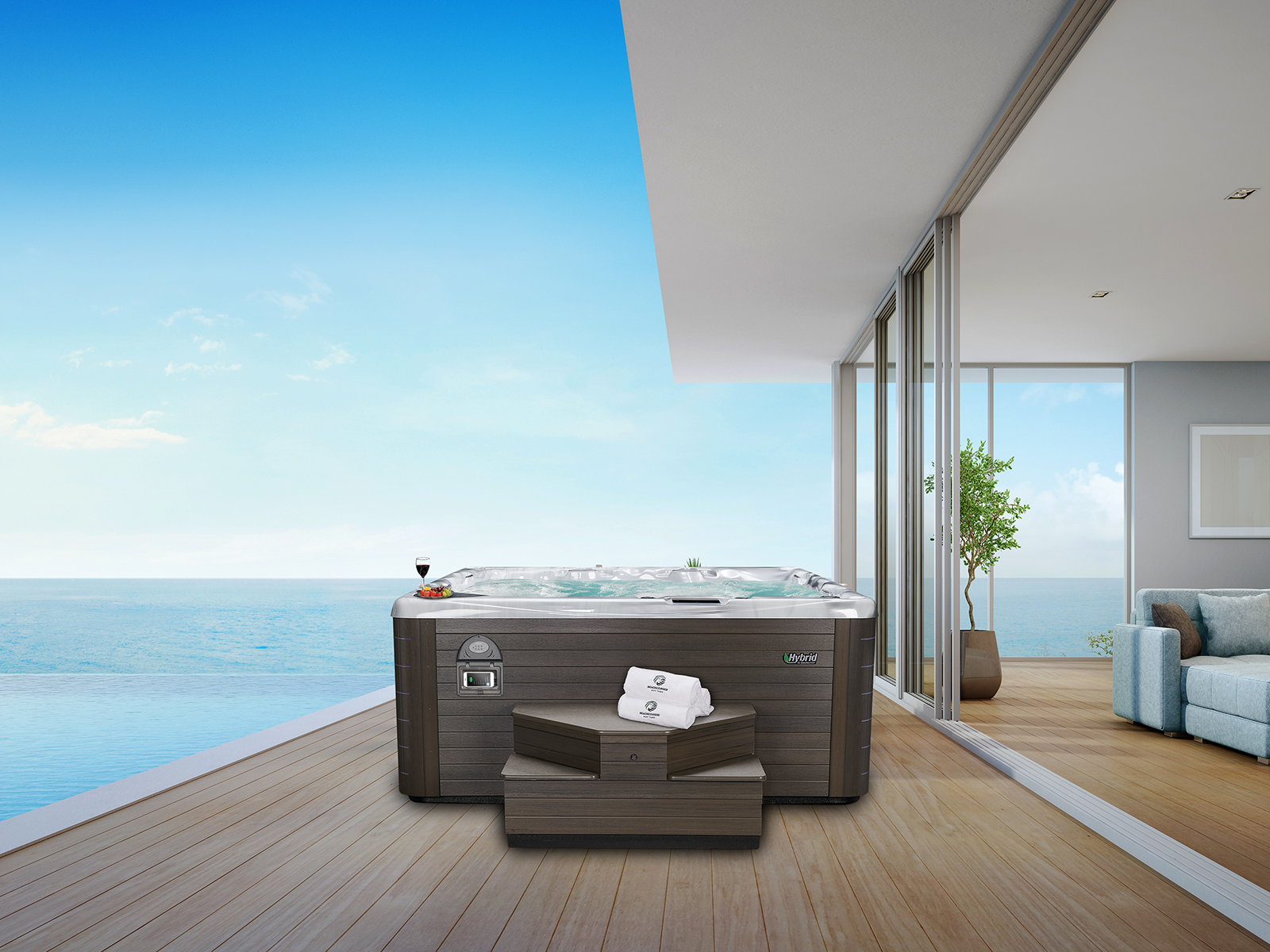 beachcomber hot tub with sea in background