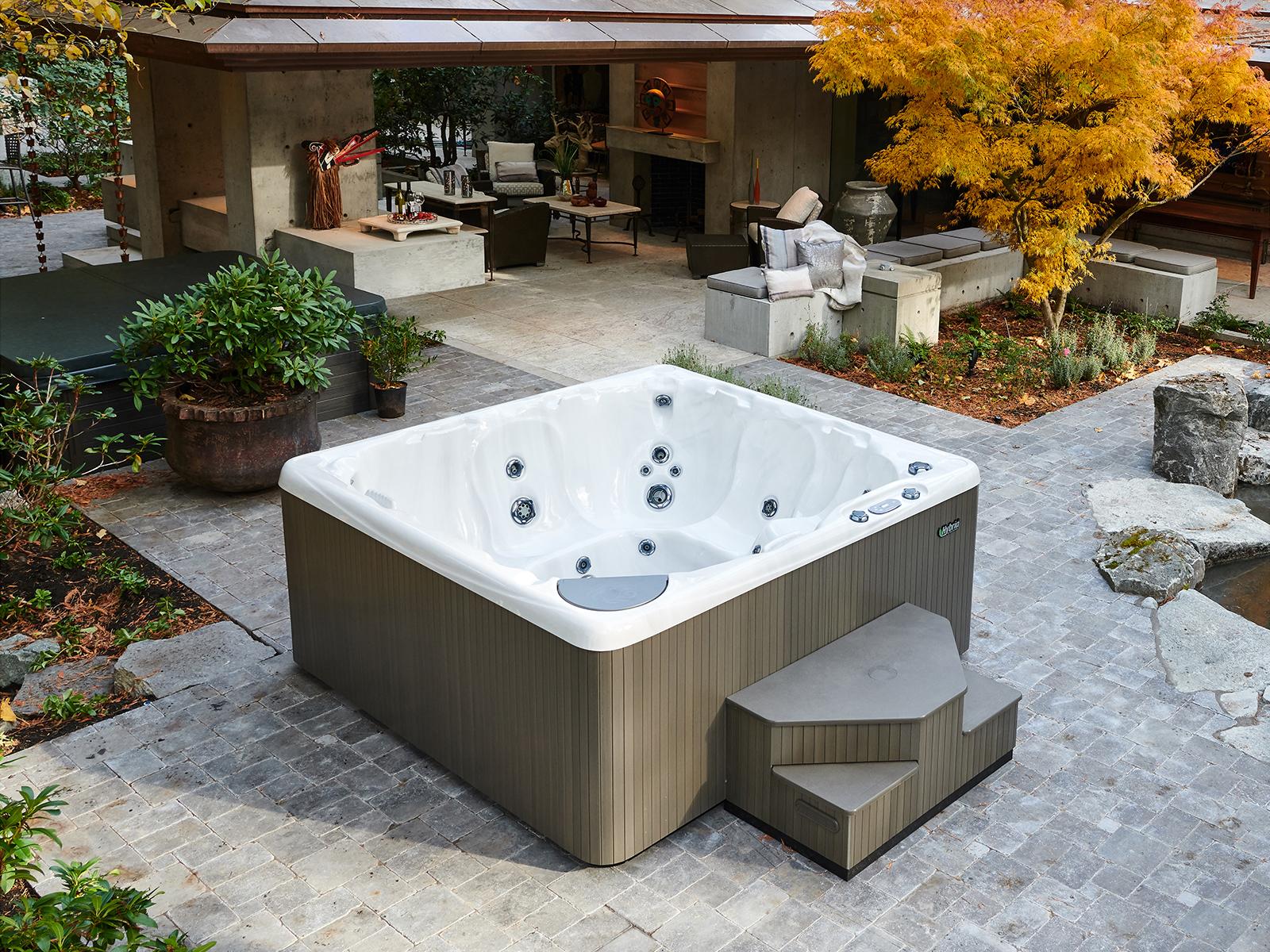 empty beachcomber hot tub on patio