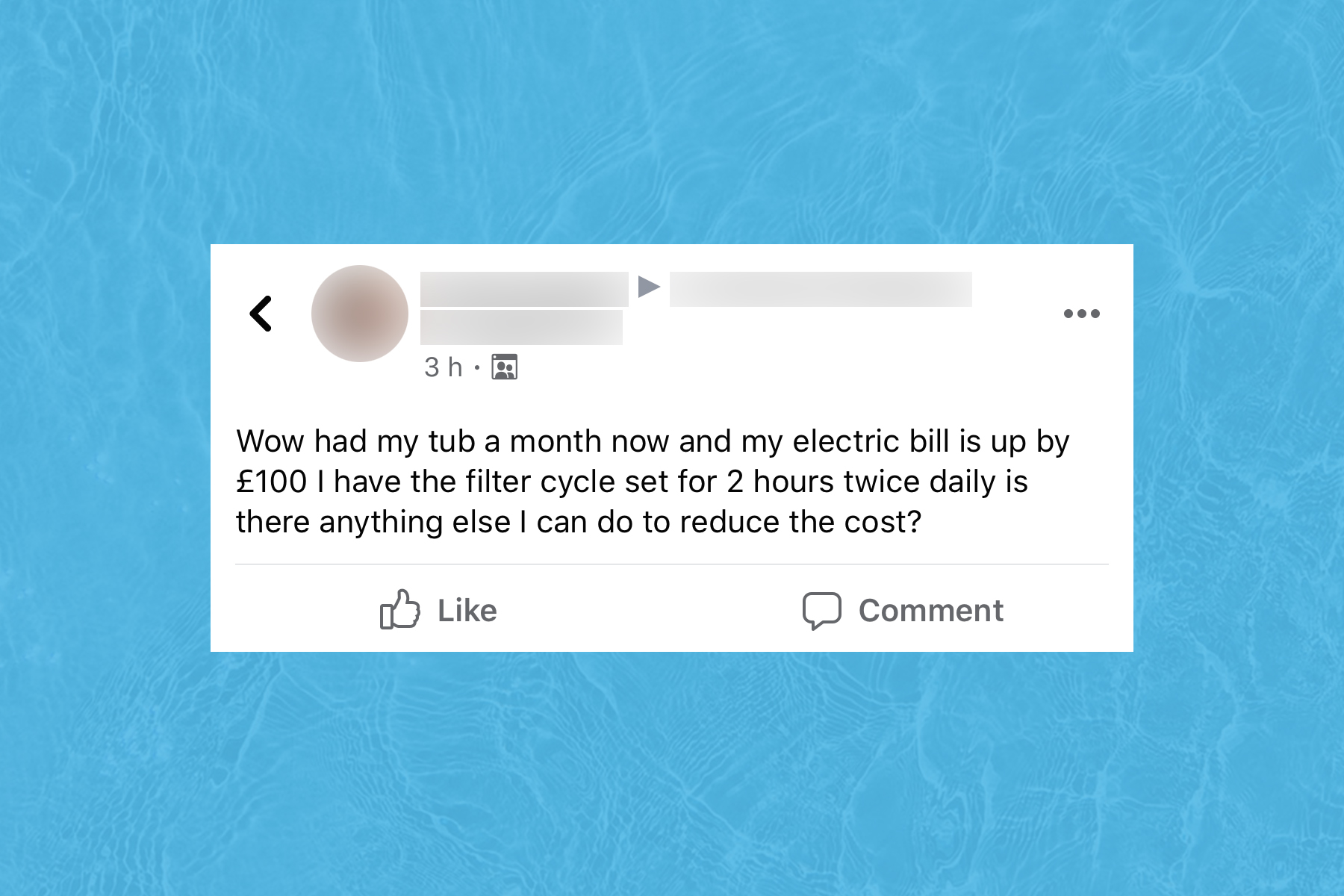 Screenshot of Facebook post asking how to reduce expensive hot tub running costs.