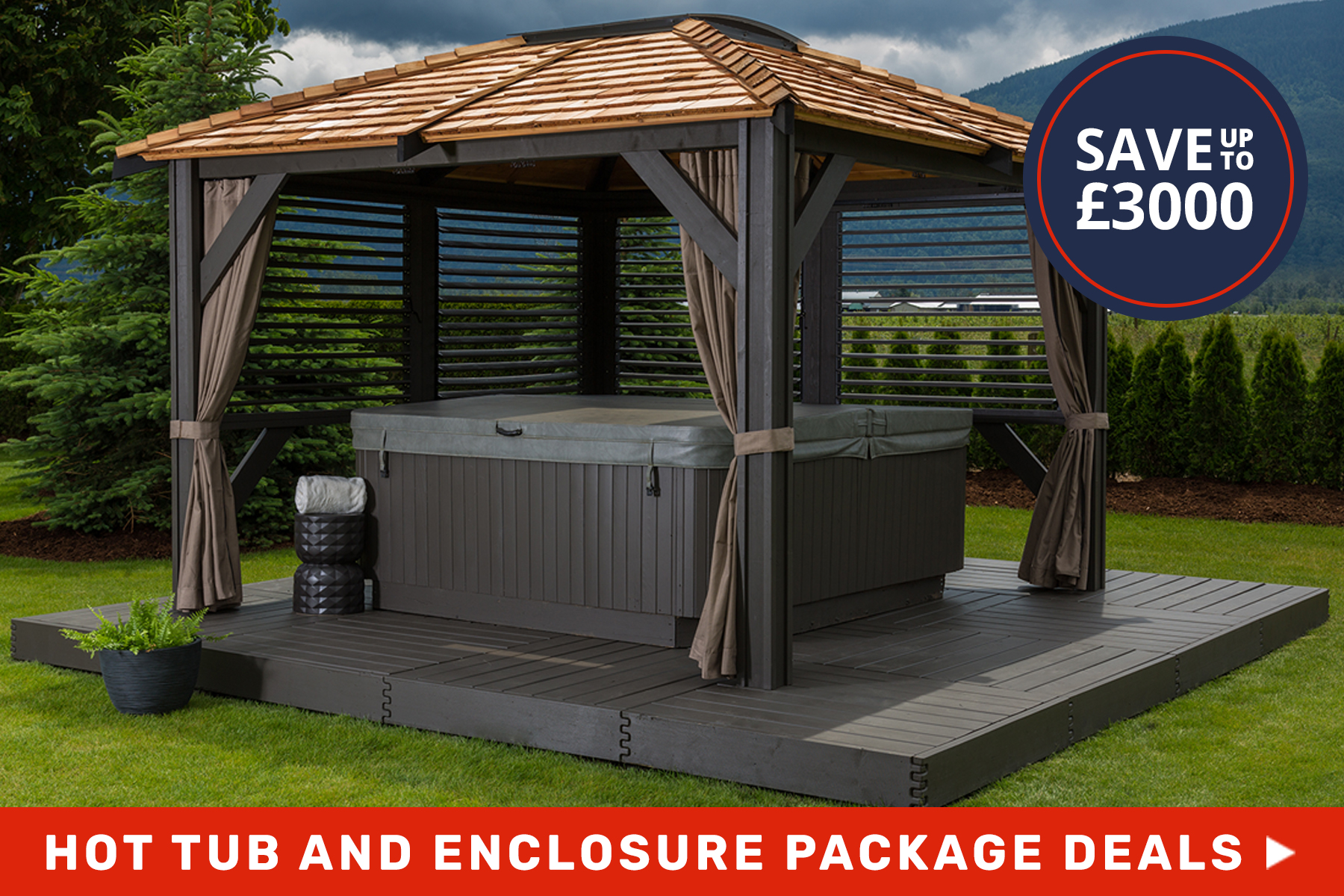 hot tub and enclosure package deals