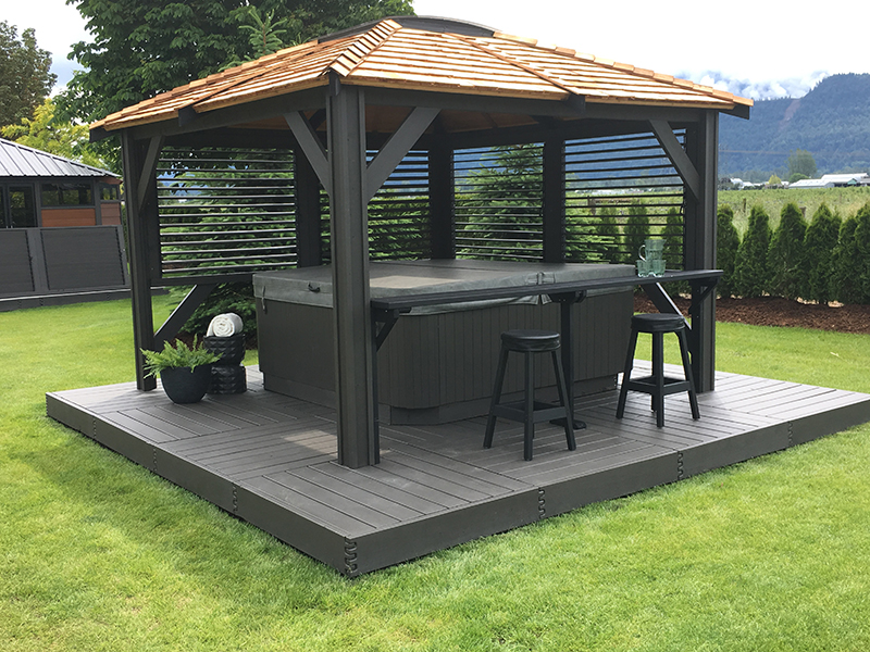 Hot Tub Enclosures with a Bar