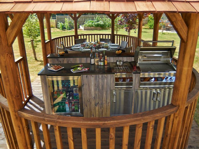 The Supreme Gazebo comes with a fully stocked outdoor kitchen