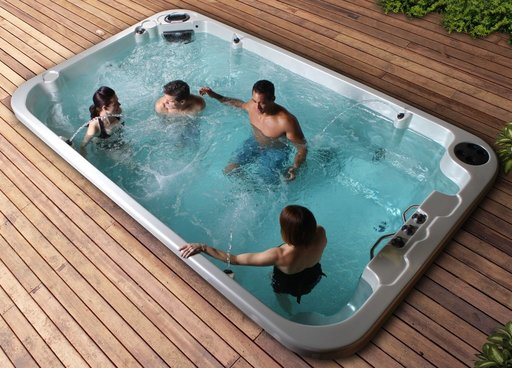 Socialising in a Swim Spa