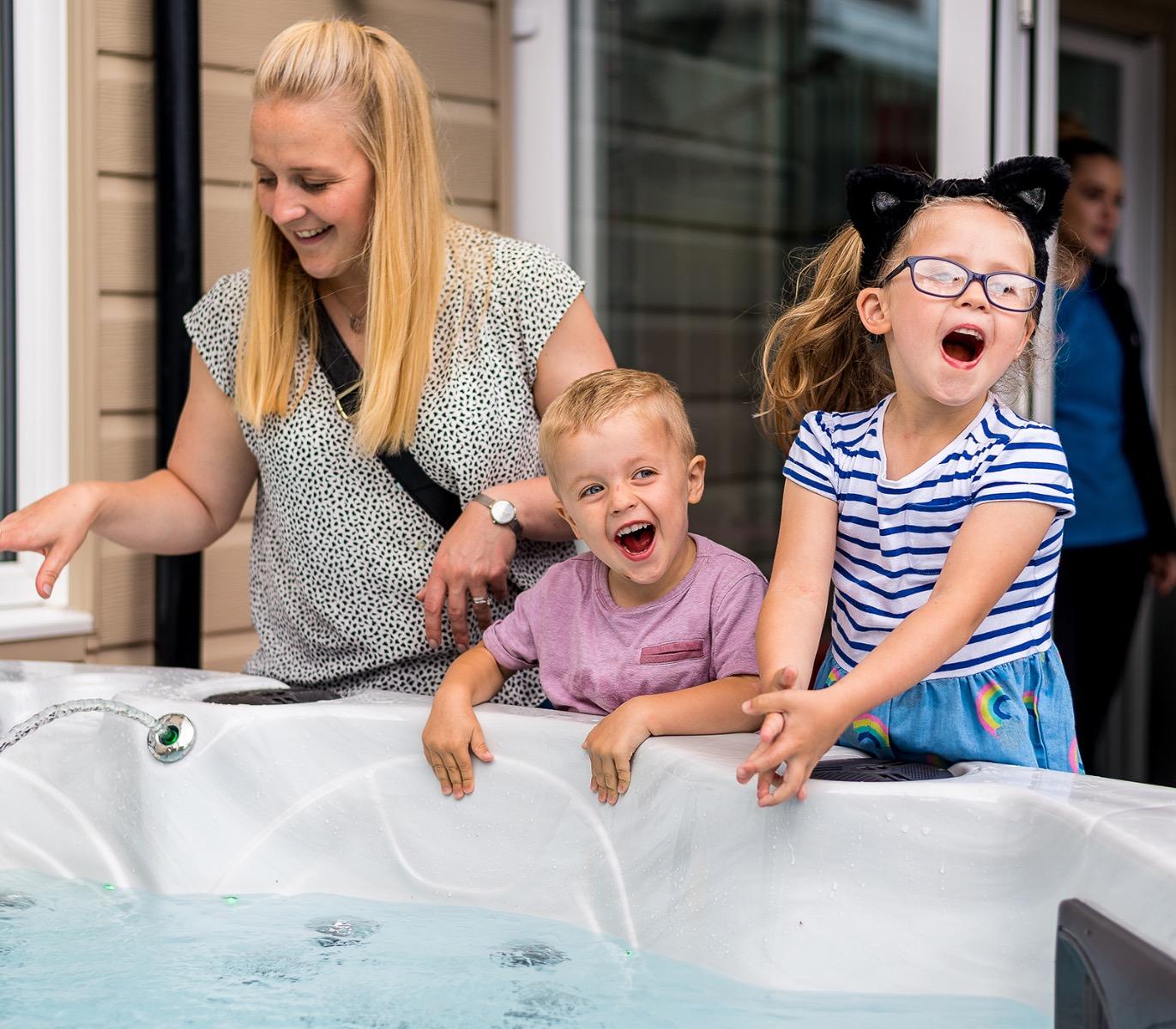 Customers Looking at Hot Tub
